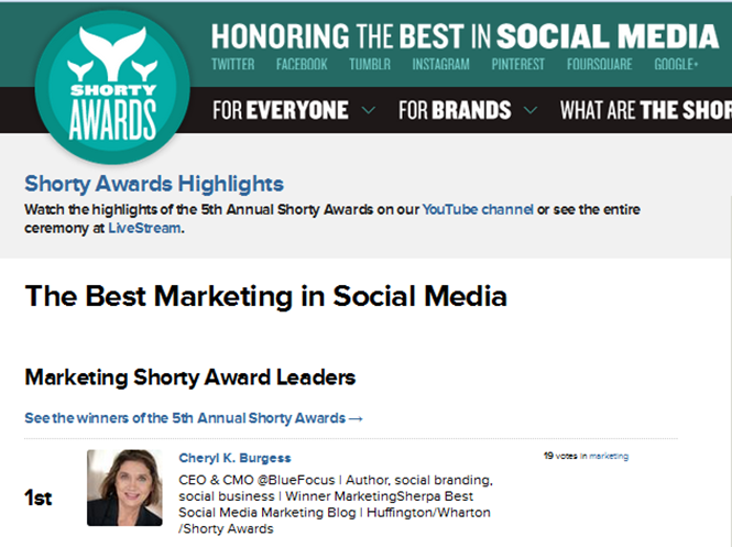 Cheryl Burgess Winner of Shorty Awards 2013