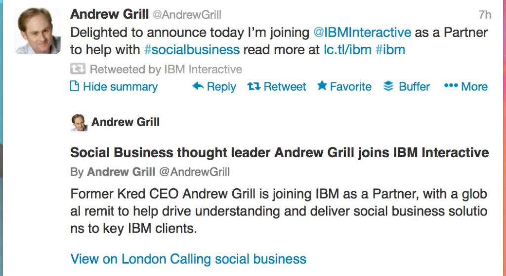 Andrew Grill Tweet
