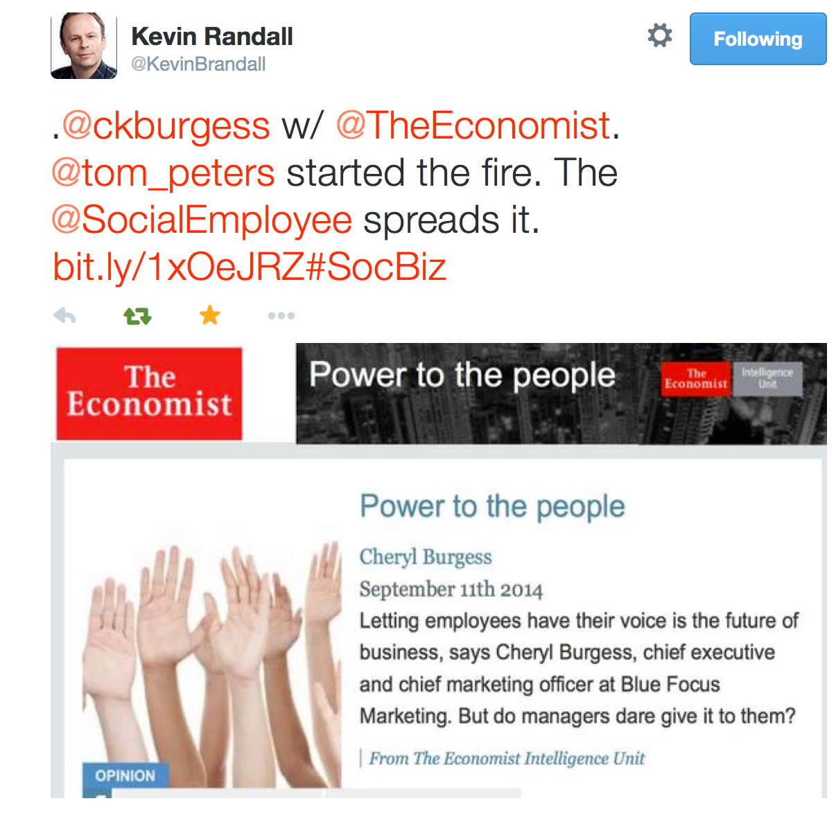 Tom Peters started fire Kevin Randall tweet