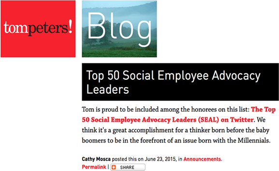 Tom Peters Top 50 Social Employee Blog